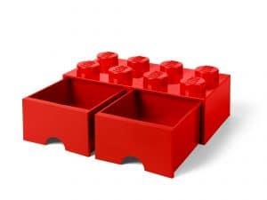 lego 5006131 8 knops rod opbevaringsklods med skuffer