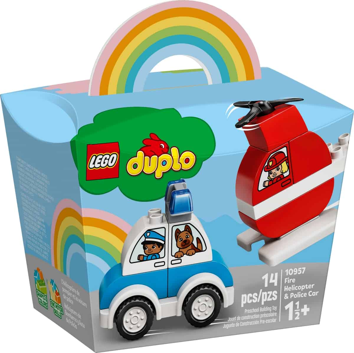 lego 10957 brandslukningshelikopter og politibil