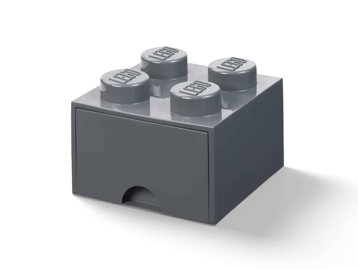 lego 5006328 4 knops opbevaringsklods med skuffe morkegra